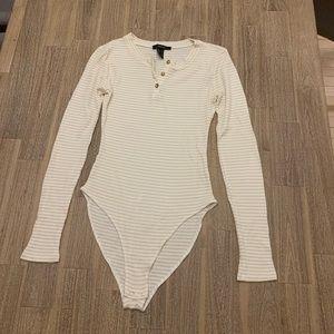 Forever 21 Striped Henley Bodysuit Small